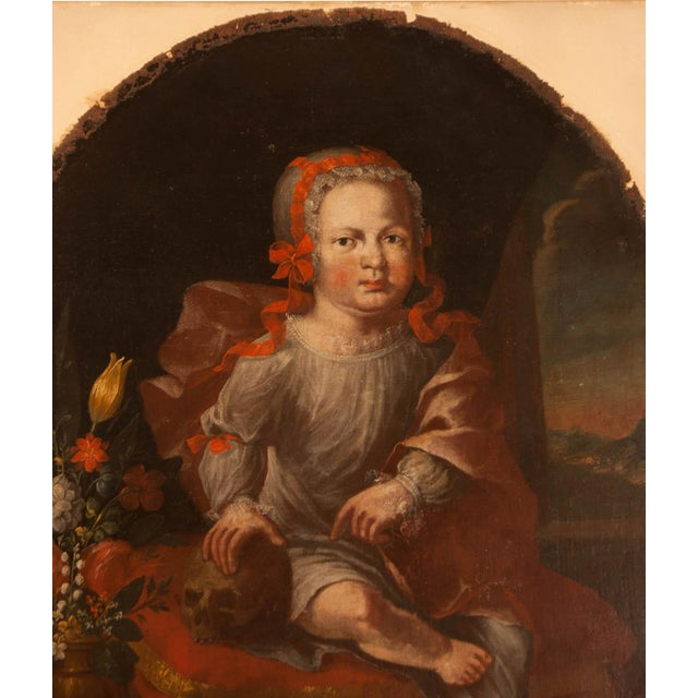 Memorial portrait of an unusual child painted in Germany during the middle of the 18th century. We originally thought this...