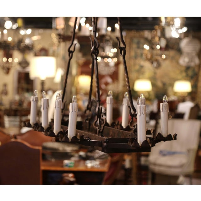 19th Century French Gothic Forged Iron Ten-Light Chandelier For Sale - Image 11 of 13