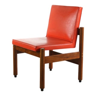 Minimalist Thonet Walnut Chair in the Original Red Upholsterey, USA For Sale