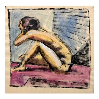 "Donald Stacy ""Pink Floor"" C.1950s Gouache Figure Painting For Sale"