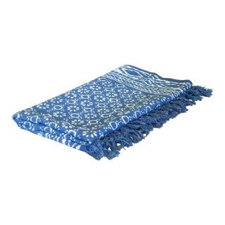 Geometric Floral Indigo Batik Throw For Sale