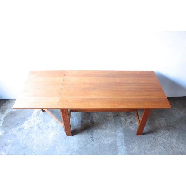 Mid-Century Swedish Drop Leaf Teak Dining Table - Image 4 of 8