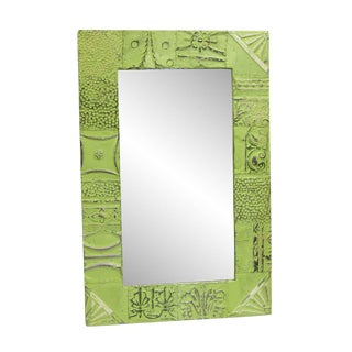 Lime Green Mixed Panel Tin Mirror For Sale