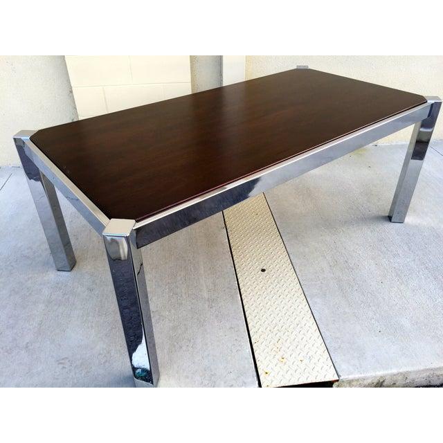 Milo Baughman DIA Wood & Chrome Dining Table - Image 2 of 8
