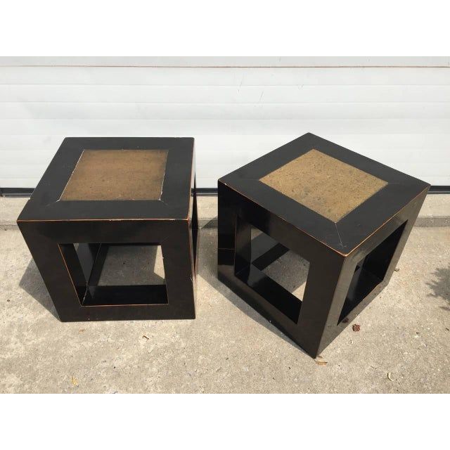 Chinese Elmwood & Stone Square Tables - Image 8 of 9