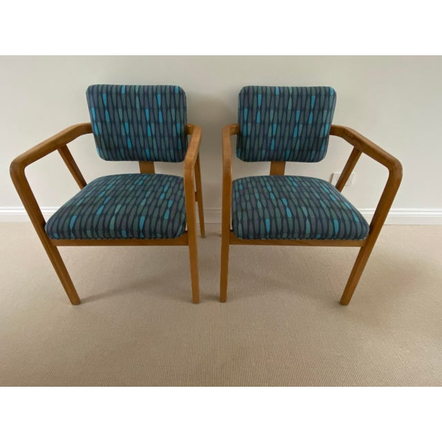 Mid-Century Modern 1950s Mid-Century Modern Walnut Upholstered Arm Chairs - a Pair For Sale - Image 3 of 13