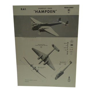 """Vintage WWii Aircraft Recognition Poster """"Handley Page Hampden"""", R.A.F., 1943"""