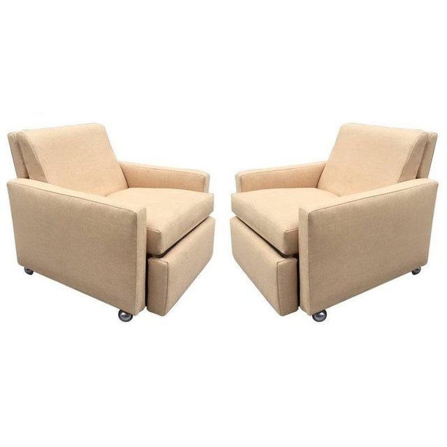 Brass Pair of Reclining Lounge Chairs by Milo Baughman For Sale - Image 7 of 7