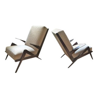 "Grasshopper"" Italian Oak 1950s Armchairs, Newly Recovered in Maharam Boucle For Sale"