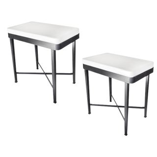 Metal Tables With Porcelain Tops - a Pair For Sale