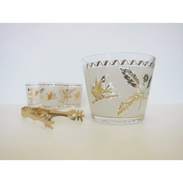 Vintage Gold Leaf Ice Bucket and 4 Rocks Glasses - Image 3 of 5