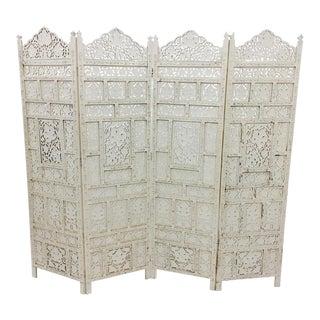 Vintage Moroccan Teak Wood Folding Screen