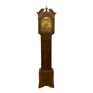Antique English Mahogany Grandmother Striking Clock, Circa 1900-1910. For Sale