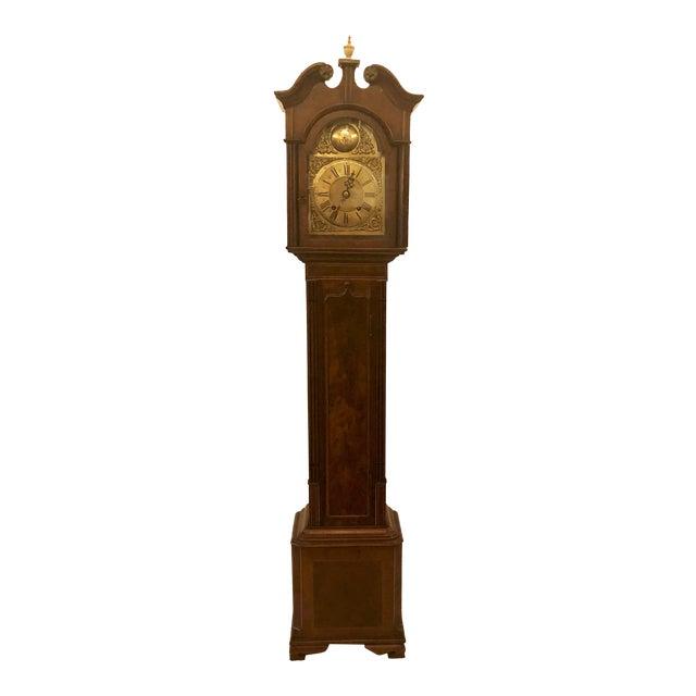 Antique English Mahogany Grandmother Striking Clock, Circa 1900-1910. For Sale