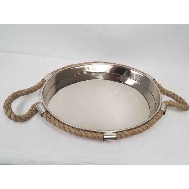 Metal Nautical Style Rope Handled Nickel Plated Tray For Sale - Image 7 of 7