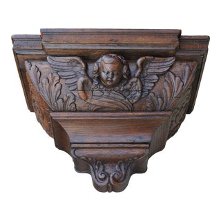 Early 19th Century Antique French Oak Carved Gothic Cherub Corbel Wall Shelf Bracket For Sale