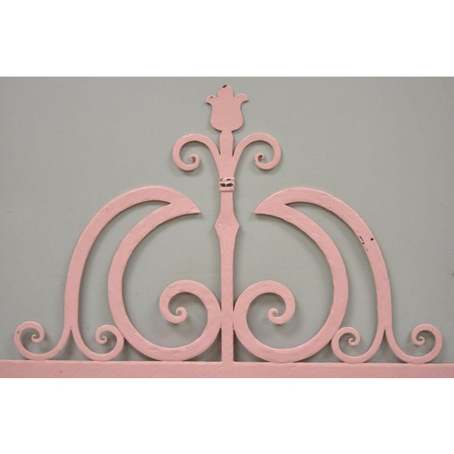 Mid 20th Century Vintage Italian Gothic Iron Hollywood Regency Twin or King Bed Headboard - a Pair For Sale - Image 4 of 13