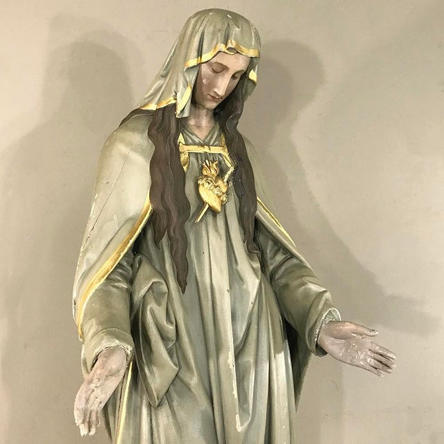 Late 19th Century 19th Century Hand-Painted Polychrome Madonna For Sale - Image 5 of 12