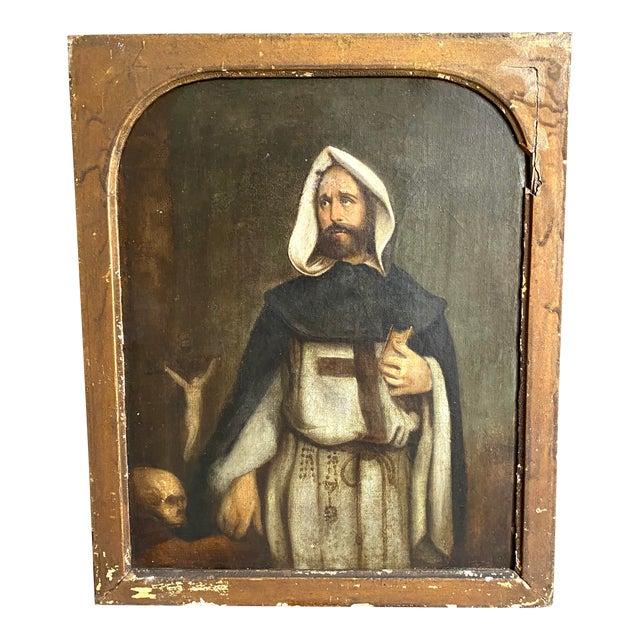 Antique 19th C. Portrait of Saint Dominic Oil on Canvas Painting For Sale