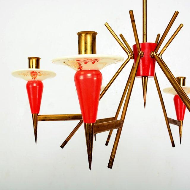 1950s 1950s Stilnovo Italian Sputnik 6 Arm Red Chandelier For Sale - Image 5 of 9