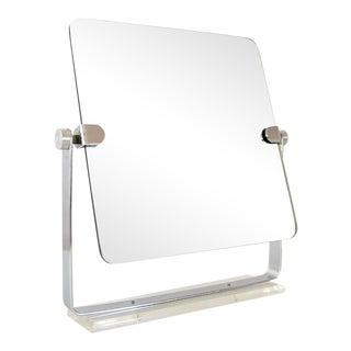 Mid Century Chrome and Lucite Adjustable Tabletop Mirror For Sale