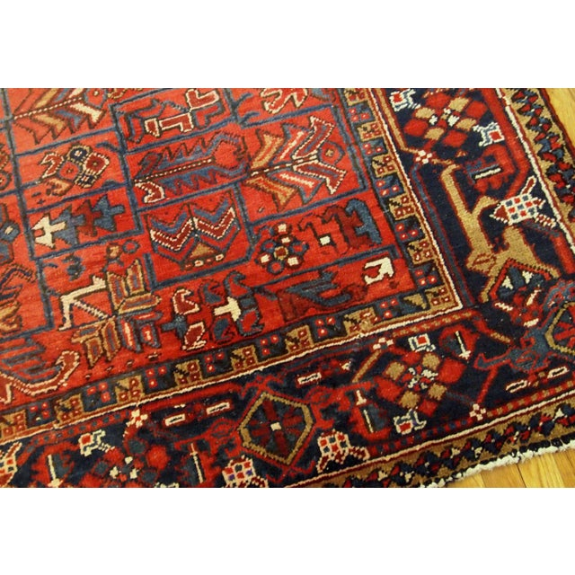 Early 20th Century 1900s Handmade Antique Persian Heriz Rug 7.3' X 10.1' For Sale - Image 5 of 11
