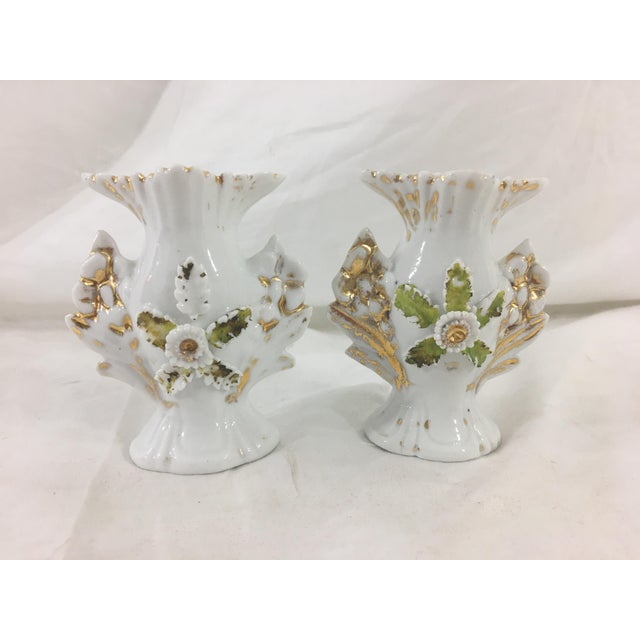 Green Miniature Old Paris Vases - a Pair For Sale - Image 8 of 8