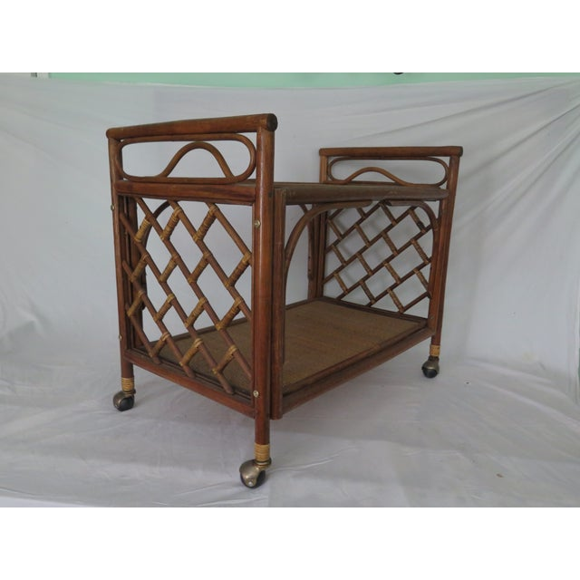 1960's Cane Wicker & Rush Bar Cart For Sale - Image 5 of 6