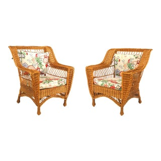 American Mission Wicker Arm Chairs - a Pair For Sale