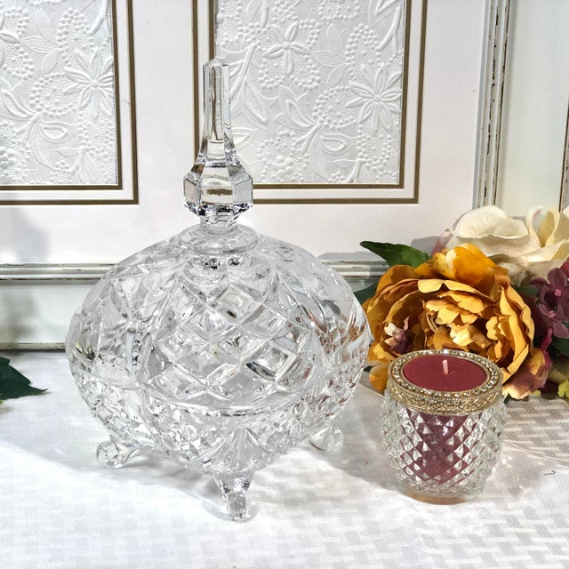 Glass Late 20th Century Vintage Crystal Footed Candy Dish For Sale - Image 7 of 10