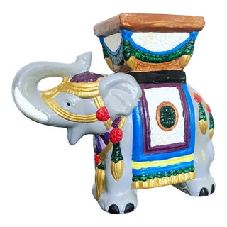 Vintage 1960's Hand-Painted Ceramic Elephant Planter For Sale