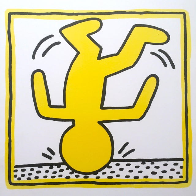 """Rare Vintage """" Keith Haring 1982 """" Original Pop Art Lithograph Print Framed Exhibition Poster For Sale - Image 5 of 11"""