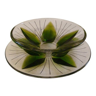 Mid-Century Modern Signed Lalique Green Lotus Leaf Canape Set - 2 Pc. Set For Sale