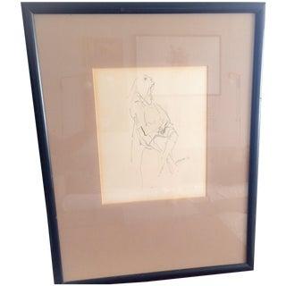 Vintage S. Reppa Man Ink Sketch For Sale