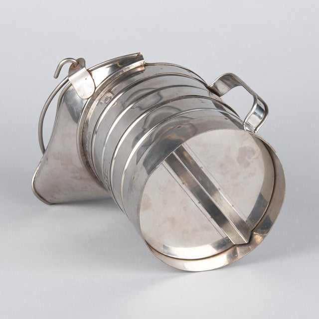 1950s French Silver Metal Measuring Milk Pitcher For Sale - Image 9 of 13