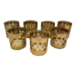 Culver Glass Company Valencia 1960s Mid Century Modern Gold Glasses - Set of 7 For Sale