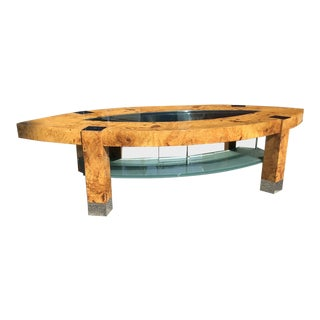 1980s Mid Century Modern Leon Rosen for Pace Collection Burl & Chrome Coffee Table For Sale