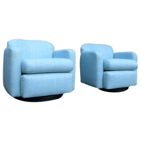 Pale Blue Mid-Century Barrel Lounge Chairs - Image 1 of 6