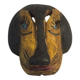 Vintage Carved Wood Dog Mask