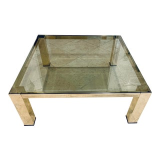 Mid Century Modern Brass and Glass Low Coffee Table For Sale