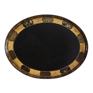 Antique English Chinoiserie Papier Mache Serving Tray For Sale