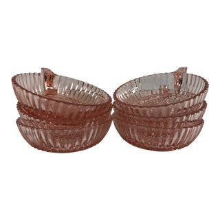 Queen Mary Pink Depression Glass Dessert Bowls, Set of 6 For Sale
