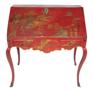Louis XV Period Gilt-Bronze Mounted Red-Lacquered Drop Front Bureau, Ca. 1750 For Sale