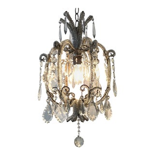 Italian Beaded Single Light Crystal Chandelier For Sale