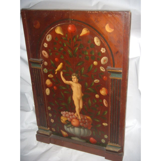 Antique Painted French Wood Panel of Cherub & Fruit & Bird - Image 2 of 11