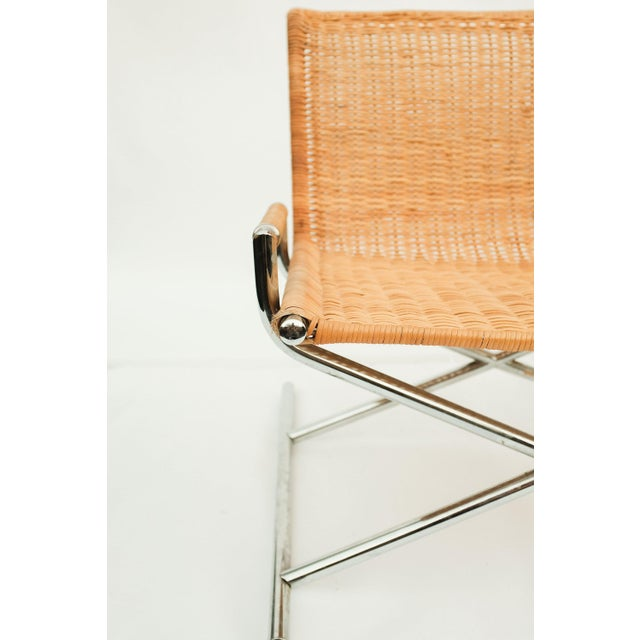 1960s Ward Bennett Wicker Sled Lounge Chair for Brickel Associates For Sale - Image 5 of 10