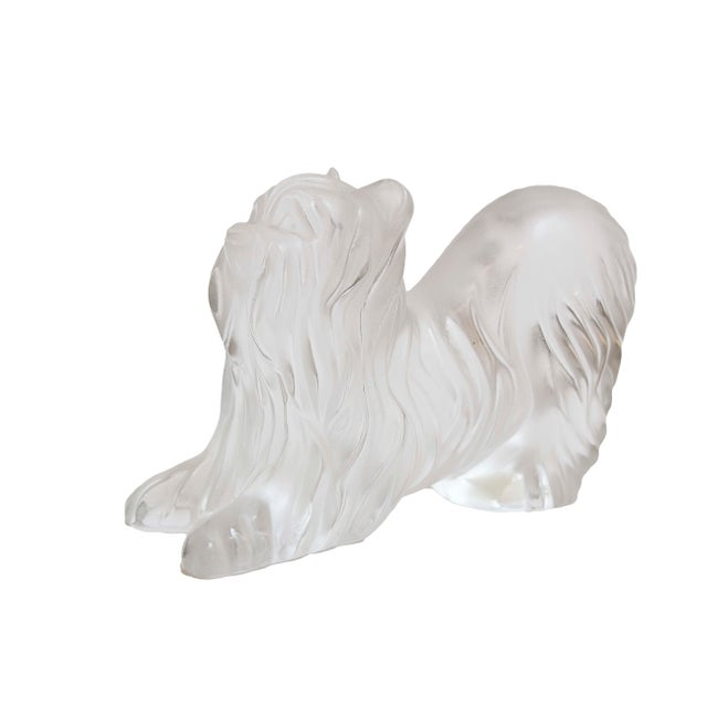 """Lalique Crystal Yorkshire Terrier Engraved autograph """"MCL 4-29-92"""" of Marie Clade Lalique director of company in 1990's..."""