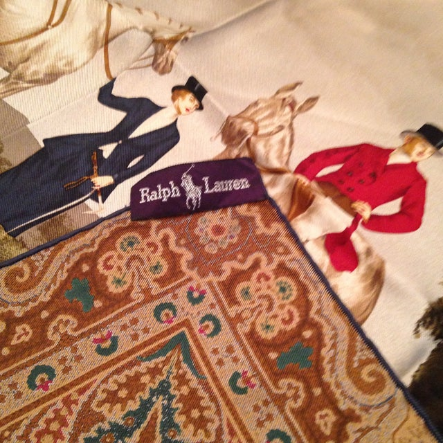 English Traditional Vintage Silk Ralph Lauren Scarf For Sale - Image 3 of 8