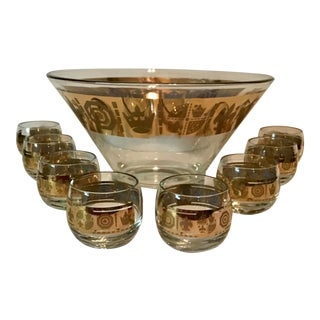 Mid Century Modern Punch Bowl and Glasses Culver Briard Style Gold Finish - Set of 9 For Sale