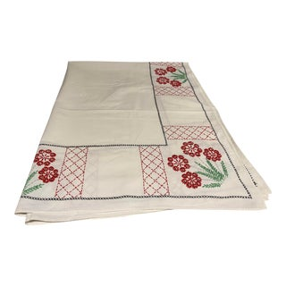 French Hand-Stitched Tablecloth For Sale